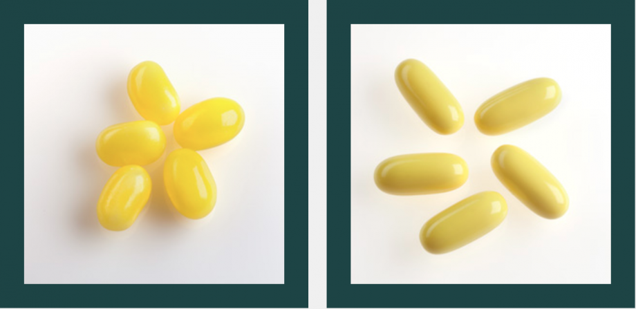 two images of yellow pill-shaped objects that could be pills or candy